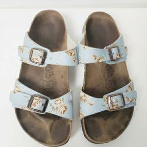 Birkenstock Birki's Blue Floral Sandals Size 7.5